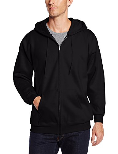 hanes-herren-ultimate-baumwolle-full-zip-fleece-kapuze-f280-gr-s-schwarz