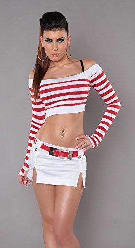 In-Stylefashion Damen Bauchfreies Longsleeve mit Streifen Rot