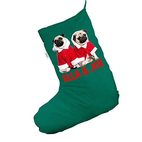 Kostüm Custom Santa - Personalisierte Weihnachts-Mops tragen Santa Kostüm groß, grün Weihnachtsstrumpf