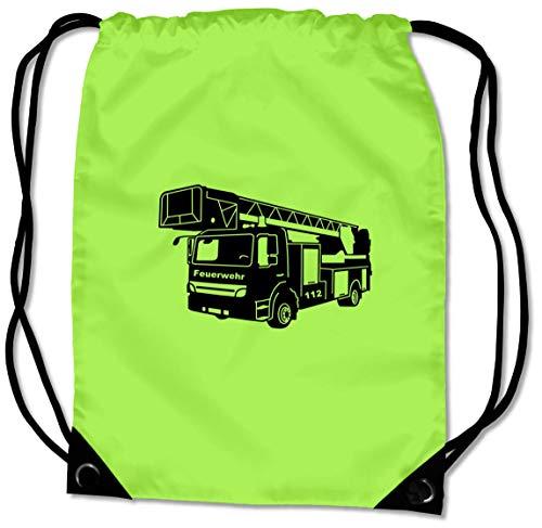 Samunshi® Turnbeutel Feuerwehr Sportbeutel BG10 Gymsac Nr.6: Lime grün/schwarz 45 x 34 cm