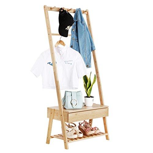 LANGRIA Garderobenständer Bambus Kleiderständer mit Schublade, 5 Kleiderhaken, 60 x 35 x 148 cm