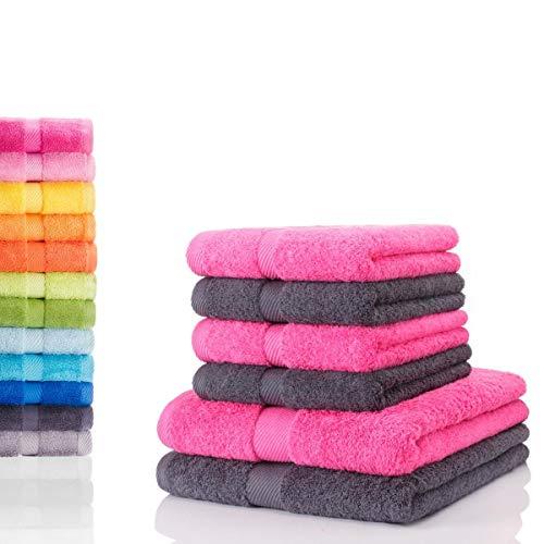 etérea Carli 6 TLG Handtuch Sparset 4X Handtücher, 2X Duschtücher - 100{5b9aed3b35e561566f9e759243e1fd6f233b204ced6787c26eb9fc61dbd4078e} Baumwolle und Oeko Tex Standard 100 - Qualitäts Frottierware 500 g/m² - Farbe: Graphit - Pink
