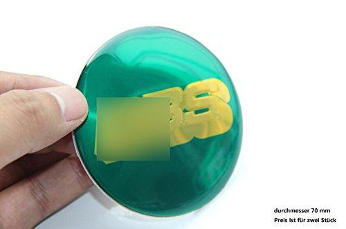 R212 BB 2 stück Felgendeckel blau gold 3D Emblem mobil Auto Aufkleber Nabendeckel Radkappen Nabenkappen 70 mm