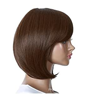Women Wigs Slanting Bangs Bobo Head Style Short Straight Wigs Brown