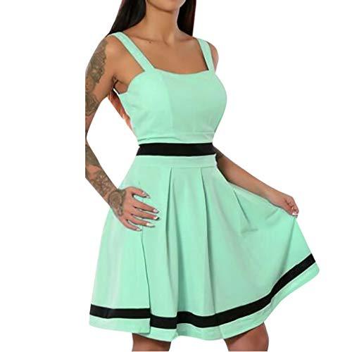CUTUDE Damen Kleider Patchwork Weinlese Frauen Kleid Beiläufig Minikleid Mode 2019 Sexy Partykleid Ärmellos Strandkleid