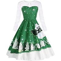 Geili Damen Vintage Langarm Spitzenkleid Weihnachten Schneeflocke Drucken Frack Lang Abendkleid Frauen Elegant... preisvergleich bei billige-tabletten.eu