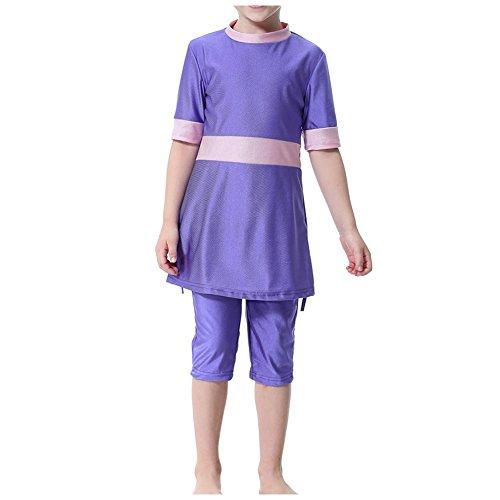 Deylaying Sommer Kinder Mädchen 3 Stück Muslim Burkini mit Schwimmhaube Bescheiden Pure Farbe Kurzarm islamisch Malaysia Arabisch Kids Bademode Hindu Jüdisch Badeanzug