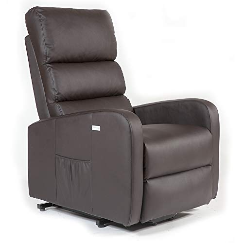 SHU Sillón Relax Levantapersonas con función elevación y reclinación eléctrica, Masaje, Calor Lumbar y vibración por Andulación, Negro/Marrón/Beige/Camel, Premium