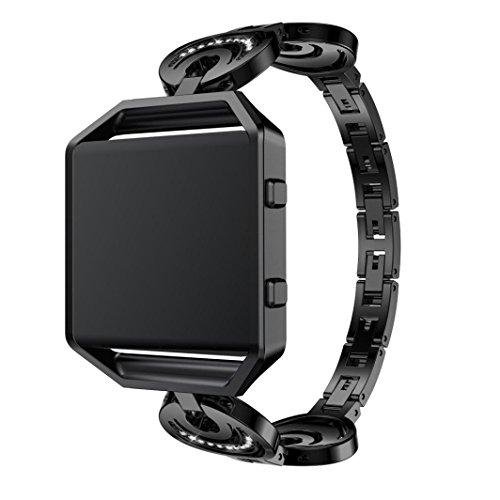 QHJ Uhrenband,Für Fitbit Blaze SL Mode Crescent Typ Crystal Metal Watch Band Handschlaufe (Schwarz)