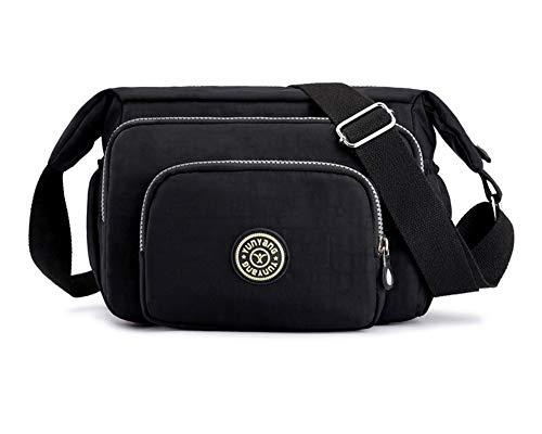 Wickeltasche für Babywindel Multifunktional Baby Tasche Schultertasche Wasserdichte Nylontasche mit MultiTasche Schwarz