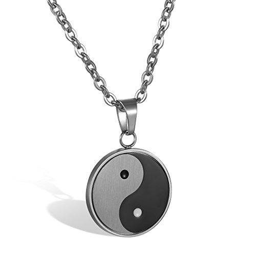 JewelryWe Schmuck Herren Damen Halskette, Edelstahl Tai Chi Yin und Yang Anhänger mit 55cm Kette, Schwarz Grau Silber, kostenlos Gravur