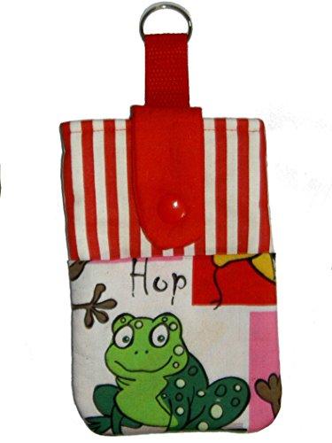 Universal Handytasche Handyhülle Handysocke mit Frosch und rot-weißen Streifen - passend für Geräte = ca. 14,1cm x 8,2cm x 1cm - Handarbeit