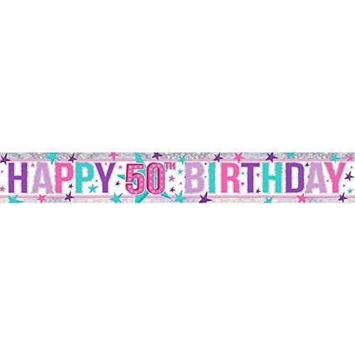 �m Happy 21st Birthday Holografische Folie Banner ()