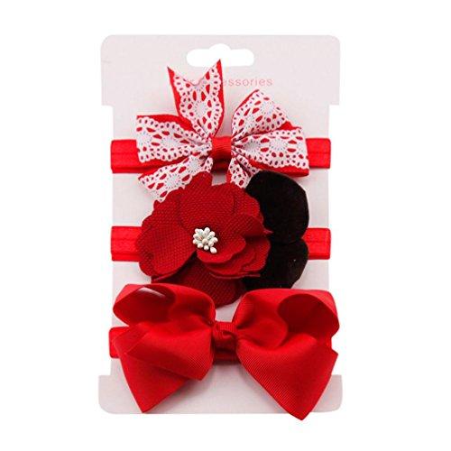 erthome Stirnband, Baby Mädchen Bowknot Haarband Set 3Pcs Kinder elastisches Blumen Stirnband Haarband (Rot) (Blumen-mädchen-socken)