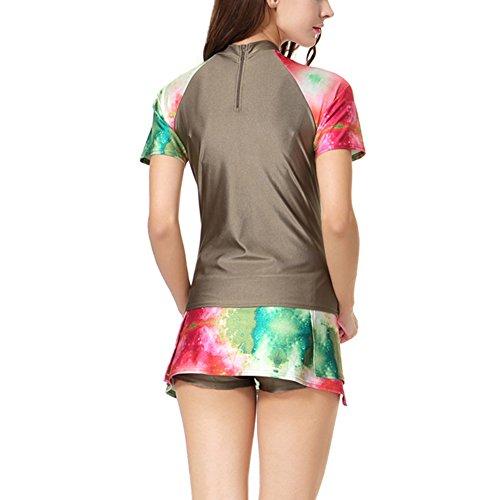 Feicuan Damen Swimming Two-piece Suits Printed Dress Islamic Beachwear -610 Green