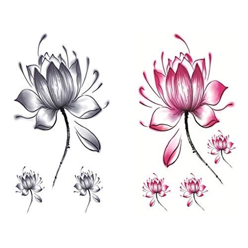 F-blue Einzigartige Blumen-Körper-Tätowierungen Lady wasserdicht temporäre Blumen Rückbütte Aufkleber für Frauen-Mädchen-2 Sheets