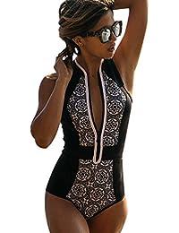 Trajes de Baño para Mujer Bikinis Bonitos Triangl Deportivos Bañadores Mujeres Bikini Retro Cremallera Ropa de Baño Swimwear Bikiny Bañador Vestido Traje Baño One Piece