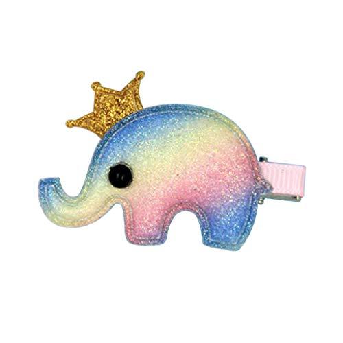 Kimruida Kid Mädchen Regenbogen Elefant Haarspange 1 Stück Bunte Haarnadel Prinzessin Haarspange ()