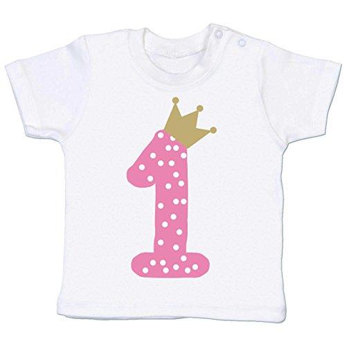 (Geburtstag Baby - 1. Geburtstag Krone Mädchen Erster - 6-12 Monate - Weiß - BZ02 - Baby T-Shirt Kurzarm)