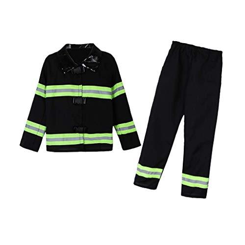 Tubayia Kinder Feuerwehrmann Kostüm Jungen Mädchen Kinderkostüm für Halloween Cosplay Party
