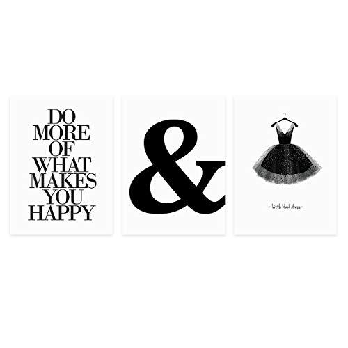 PHOTOLINI 3er Set Design-Poster 30x40 cm Schwarz-Weiss Motive Typographie Dekoration Modern