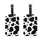 COOSUN Black And White Cow Pattern Luggage Tags Travel Labels Tag Name Card Holder for Baggage Suitcase Bag Backpacks, 2 PCS