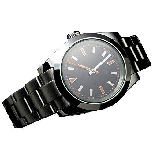 Herren-Armbanduhr, mechanisch, Edelstahl, mechanisch, Saphirglas, 41 mm, Schwarz