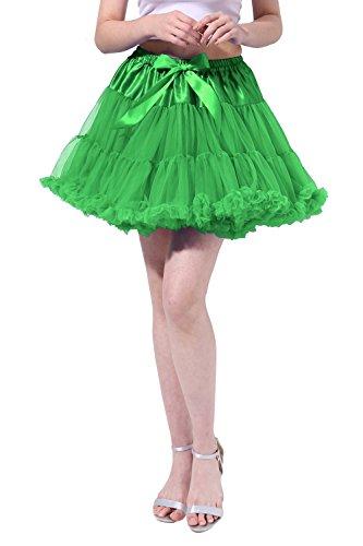Kostüm Halloween Selbstgemacht Flamingo (Tsygirls Retro Tüll Petticoat Reifrock Rock Unterrock 50er Röcke Underskirt Crinoline Grün Größe)