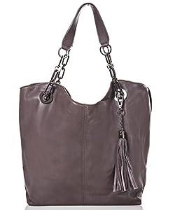 italienische Damen Handtasche Prag aus echtem Leder in grau braun, Made in Italy, Shopper Bag 42x28 cm