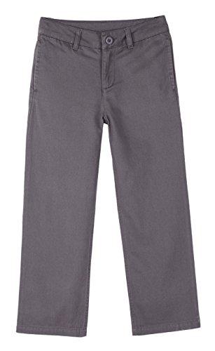 Bienzoe Jungen Schuluniformen Flache Vorderseite Baumwolle Köper Einstellbare Taille Hose grau Größe 10 (Hose Taille Flache)
