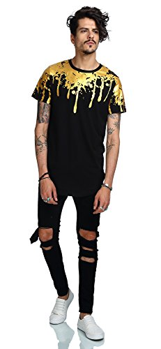 Pizoff Unisex Hip Hop Design langes T Shirts im Distressed-Look Y1726-20