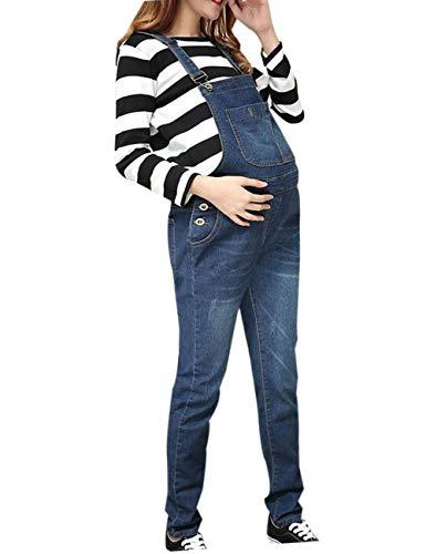 zhxinashu Abbigliamento Gravidanza Donna Jeans Premaman Pantaloni Bavaglino Salopette maternità Cintura Regolabile Multi Tasche Inverno Autunno