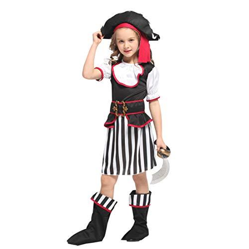 Neuheit Kreativ Kind Kostüm - Halloween Junge Mädchen Pirat Kinderkostüm, ideal für Karneval, Halloween und Themen Partys usw.(Beinhaltet Nicht: Waffe),1#,Height:130~140CM (Piraten Waffen Kit)