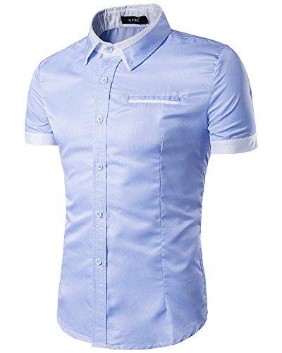 Camicia uomo slim fit classica manica corta cielo blu m