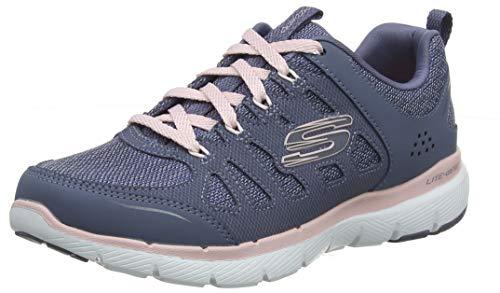 Skechers Damen Flex Appeal 3.0-BILLOW-13061 Sneaker, Grau (Slate Leather/Mesh/Pink & White Trim Sltp), 38 EU