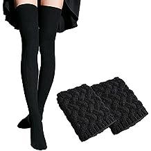 WhiFan alta del calcetín + calentador de la pierna del ganchillo de arranque puños, para mujer Sobre la rodilla invierno largo ocasional alta del muslo liso de algodón elástico (2 pares)