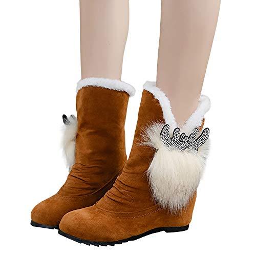 TianWlio Stiefel Frauen Winter Warm Schuhe Stiefeletten Boots Halten Schlüpfen Schneestiefel Weihnachten Damen Wildleder Bogen Quaste Runde Zehe Keile Schuhe