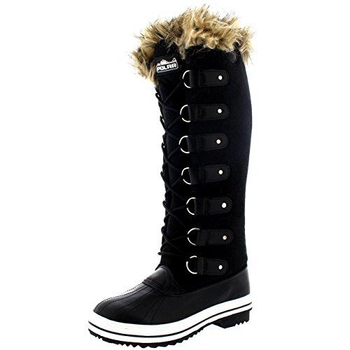 Polar Damen Pelz Cuff Schnüren Gummisohle Knie Hoch Winter Schnee Regen Schuh Stiefel - Schwarz Wildleder - BLS40 AYC0098 (Hoch Knie)