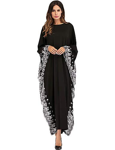 YFLTZ Frauen Basic Boho Batwing Sleeve Mantel Abaya Kleid - Solid Colored, Bestickt, schwarz, One-Size - Sleeve Solid Damen Mantel