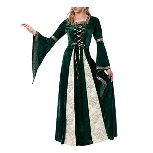 Lomelomme_Halloween Kleid Damen Magie Hexe Kleid Cosplay Kostüm Kleid Lang Damen Vintage Halloween Kostüm Cosplay Hexe Kleid Mittelalter Grün Kleidung Frauen Ballkleid und Haarband(Green, L)