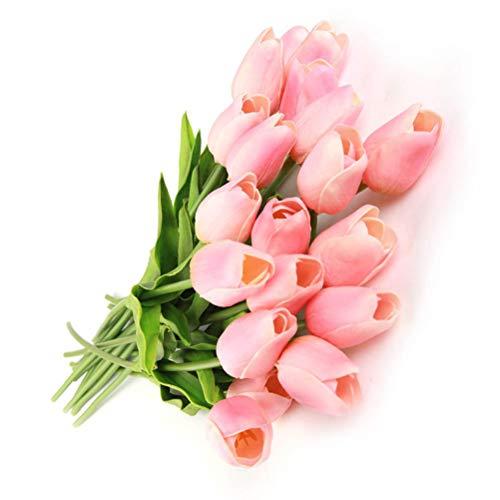 Ishua 10pcs fiori artificiali, fiori finti bouquet di seta tulipano reale tocco nuziale bouquet da sposa per home office feste di matrimonio