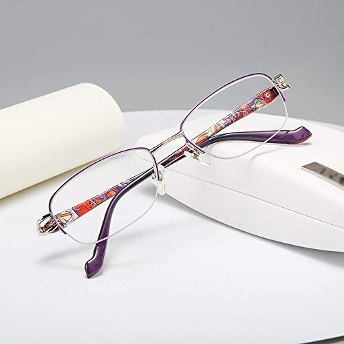 AYHMT Fashion Lesebrillen Ultraleichte Half-Frame Block Blue Brille Zum Lesen Mit Federscharnieren, Leser Wert FüR MäNner Und Frauen Multifocal Lens Hd