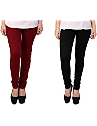 Anekaant Women's Cotton Lycra Combo Legging (Pack of Two)
