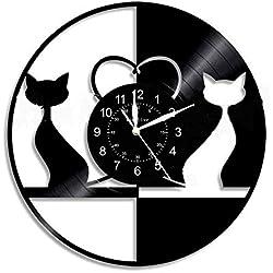 CSQHCZS-GZ Reloj De Pared De Vinilo, Minimalista De Reloj De Pared De Vinilo Reciclado, Idea De Regalo para Amigos, Hombres Y Mujeres: Decoración De Arte Contemporáneo En El Hogar O En La Pared