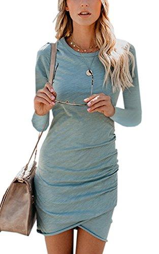 ECOWISH Damen Enges Kleid Sommerkleid Rundhals Kurzarm Kleid Bodycon Unregelmäßig Minikleid
