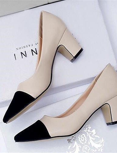 WSS 2016 Chaussures Femme-Décontracté-Noir / Blanc / Amande-Gros Talon-Talons-Chaussures à Talons-Polyuréthane white-us6 / eu36 / uk4 / cn36