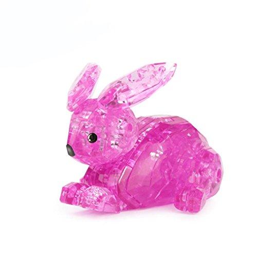 3D Spielzeug Geschenk Kristall Puzzle Niedlichen Kaninchen Modell DIY Gadget Blöcke Gebäude (Hot Pink) (Gebäude-listen)