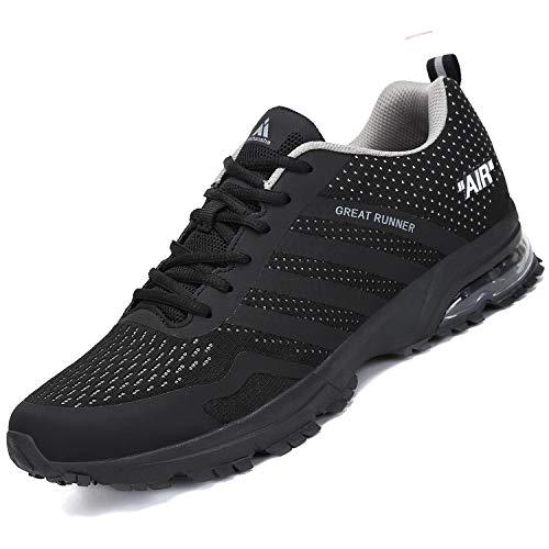 Mishansha Laufschuhe Herren Sportschuhe Air Turnschuhe Damen Running Fitness Sneakers Outdoor Straßenlaufschuhe Stil 3:Schwarz 42 EU