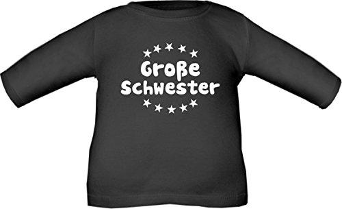 Schwarz Babyshirt (Baby / Kinder T-Shirt langarm (Farbe schwarz) (Größe 98/104) Große Schwester / COOK)