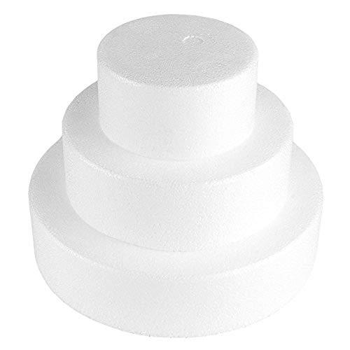 Fablcrew 3Pcs Pièce Montée Polystyrène de Diamètre 20 cm, 15 cm et 10 cm, pour Cadeau Créatif pour Bonbonbons, Décoration, Gâteaux, Bricolage